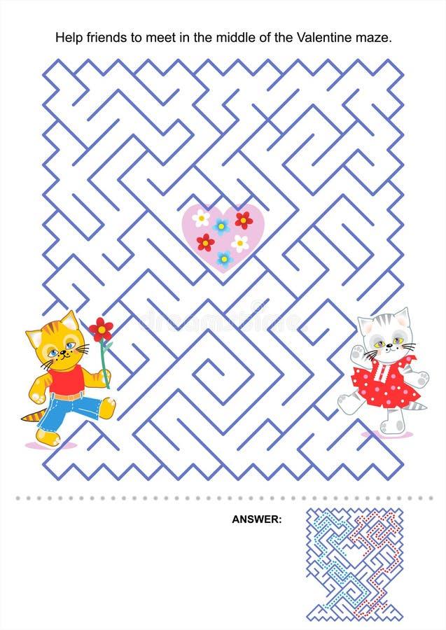Juego del laberinto para los niños - gatitos de la tarjeta del día de San Valentín ilustración del vector