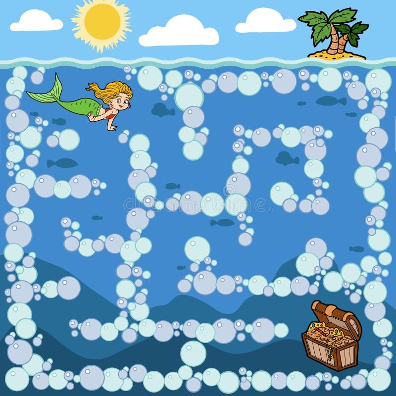 Juego del laberinto para los niños Little mermaid y cofre del tesoro stock de ilustración