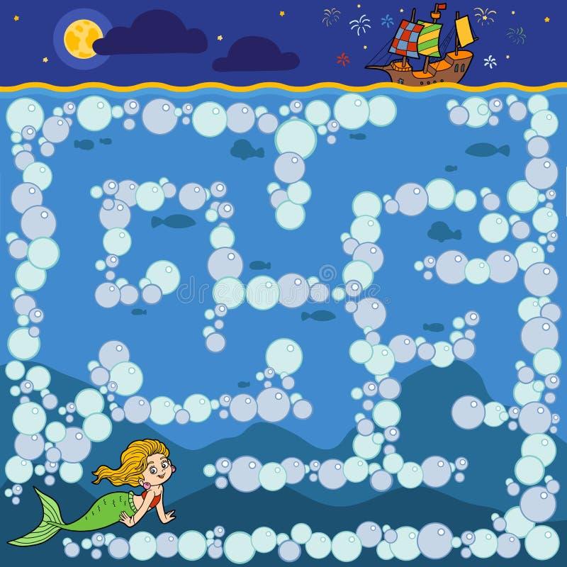 Juego del laberinto para los niños Little mermaid y la nave del ` s del príncipe stock de ilustración