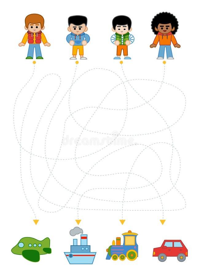 Juego del laberinto para los niños, los muchachos y diversos tipos de transporte ilustración del vector