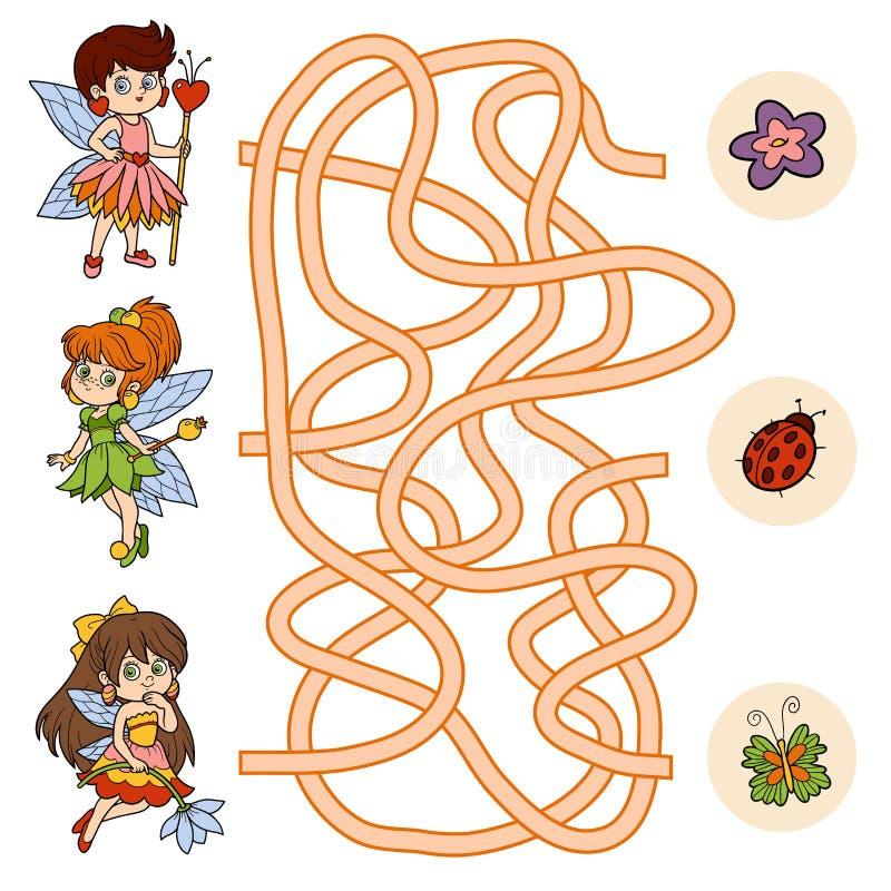 Juego del laberinto para los niños (pequeña hada) ilustración del vector