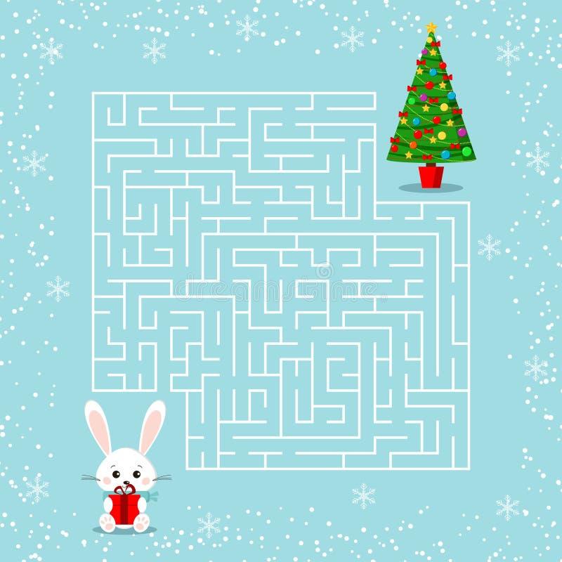 Juego del laberinto del tema de la Feliz Navidad para los niños con un laberinto Conejito de la historieta con el regalo y el árb ilustración del vector