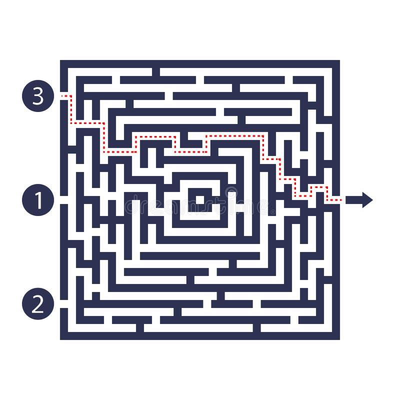 Juego del laberinto Tres entradas, una salida y una manera correcta de ir Pero muchas trayectorias a bloquear Ilustración del vec libre illustration