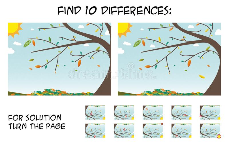 Juego del niño - encuentre 10 diferencias en imágenes con la del árbol del otoño stock de ilustración
