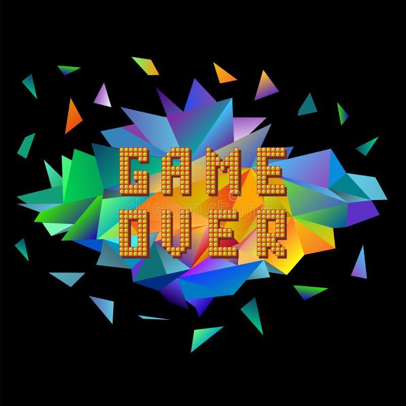 Juego del pixel sobre en bandera poligonal colorida Concepto del juego Explosi?n coloreada con las piezas Pantalla del videojuego ilustración del vector