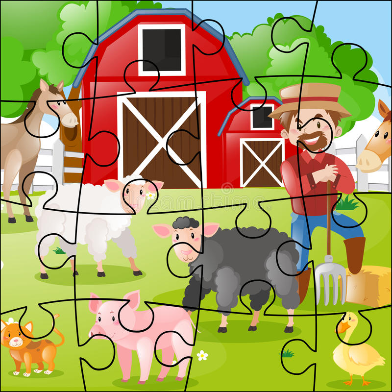 Juego del rompecabezas con el granjero y los animales stock de ilustración