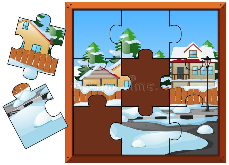 Juego del rompecabezas con las casas en invierno stock de ilustración
