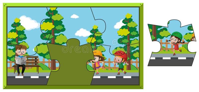 Juego del rompecabezas con los niños en parque libre illustration