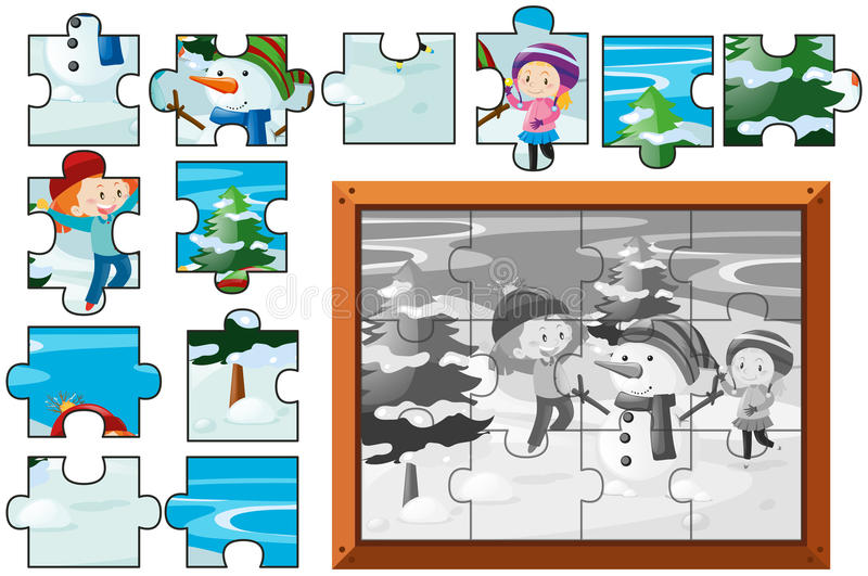 Juego del rompecabezas con los niños y el muñeco de nieve libre illustration