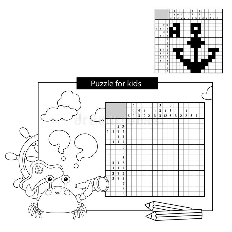 Juego del rompecabezas de la educación para los alumnos asegurar Crucigrama japonés blanco y negro con respuesta stock de ilustración