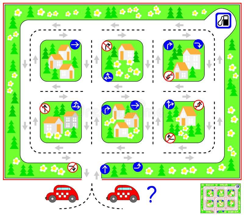 Juego del rompecabezas de la lógica con el laberinto Encuentre la manera hasta la gasolinera y dé vuelta detrás a respetar señale ilustración del vector