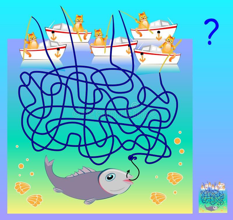 Juego del rompecabezas de la lógica con el laberinto para los niños y los adultos ¿Qué gato ha cogido los pescados? Imagen de la  stock de ilustración