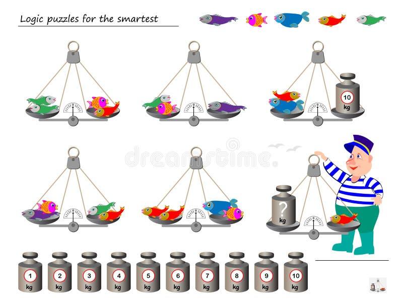 Juego del rompecabezas de la lógica matemática Ayude al pescador a calcular el peso de pescados ¿Qué peso debe poner balanzas enc ilustración del vector