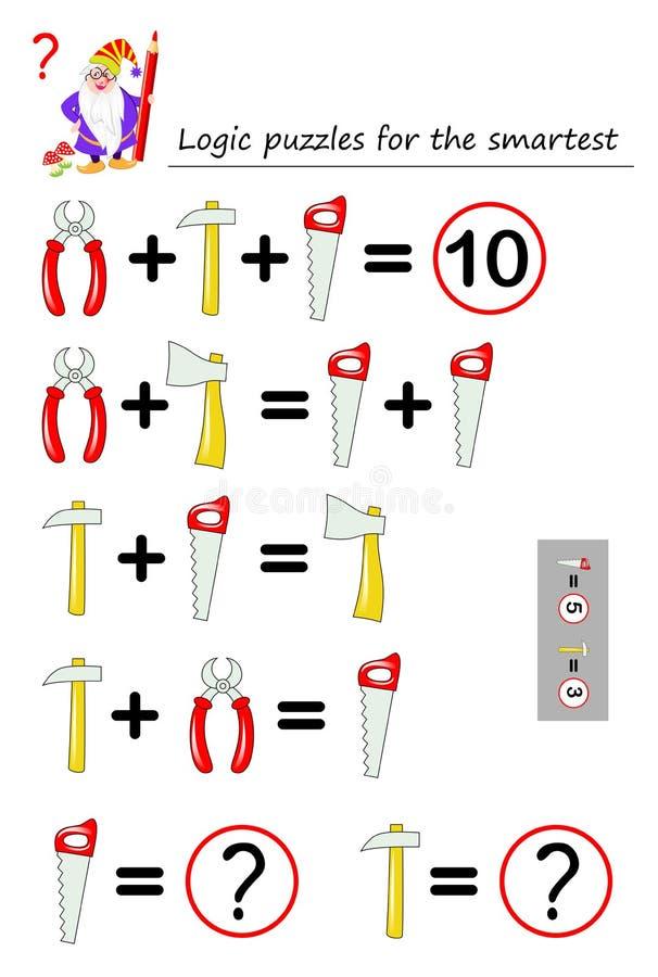Juego del rompecabezas de la lógica matemática para que la necesidad más elegante calcule el valor de las herramientas de funcion stock de ilustración