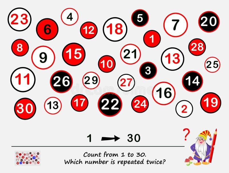 Juego del rompecabezas de la lógica para la cuenta más elegante de 1 a 30 ¿Qué número se repite dos veces? Tarea para la atención libre illustration