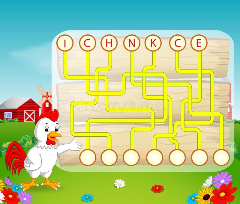 Juego del rompecabezas de la lógica para el inglés del estudio con el gallo ilustración del vector