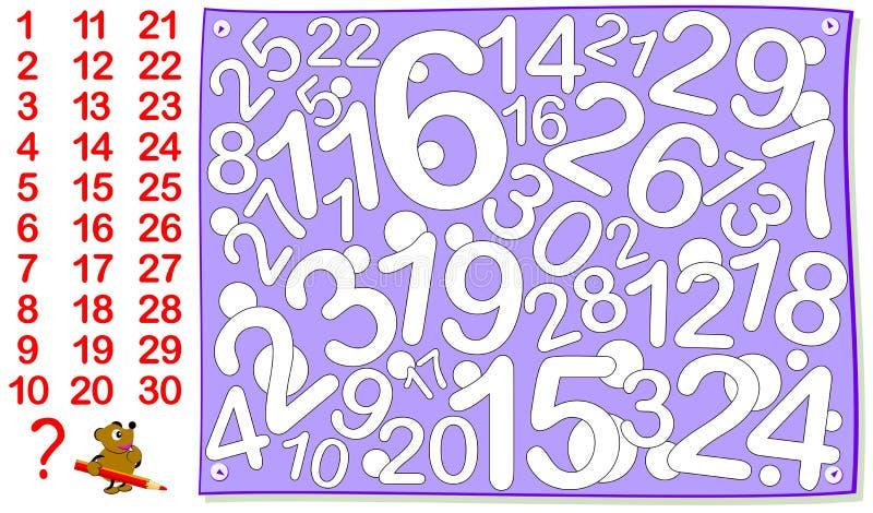 Juego del rompecabezas de la lógica para los niños jovenes Encuentre todos los números a partir de la 1 hasta 30 y píntelos stock de ilustración