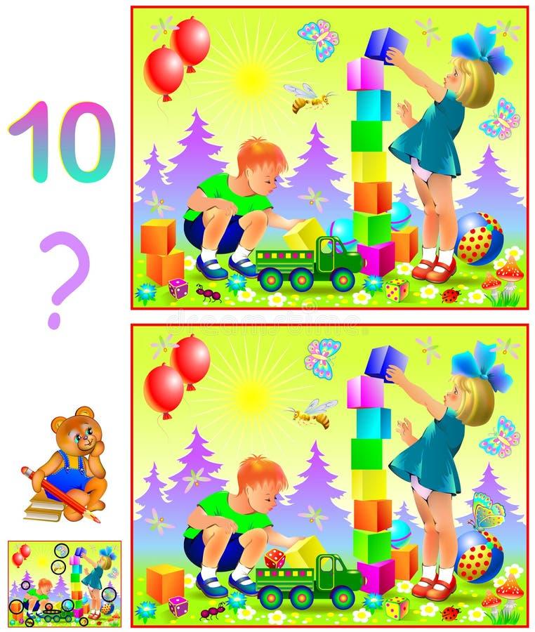 Juego del rompecabezas de la lógica para los niños jovenes Necesidad de encontrar diez diferencias libre illustration