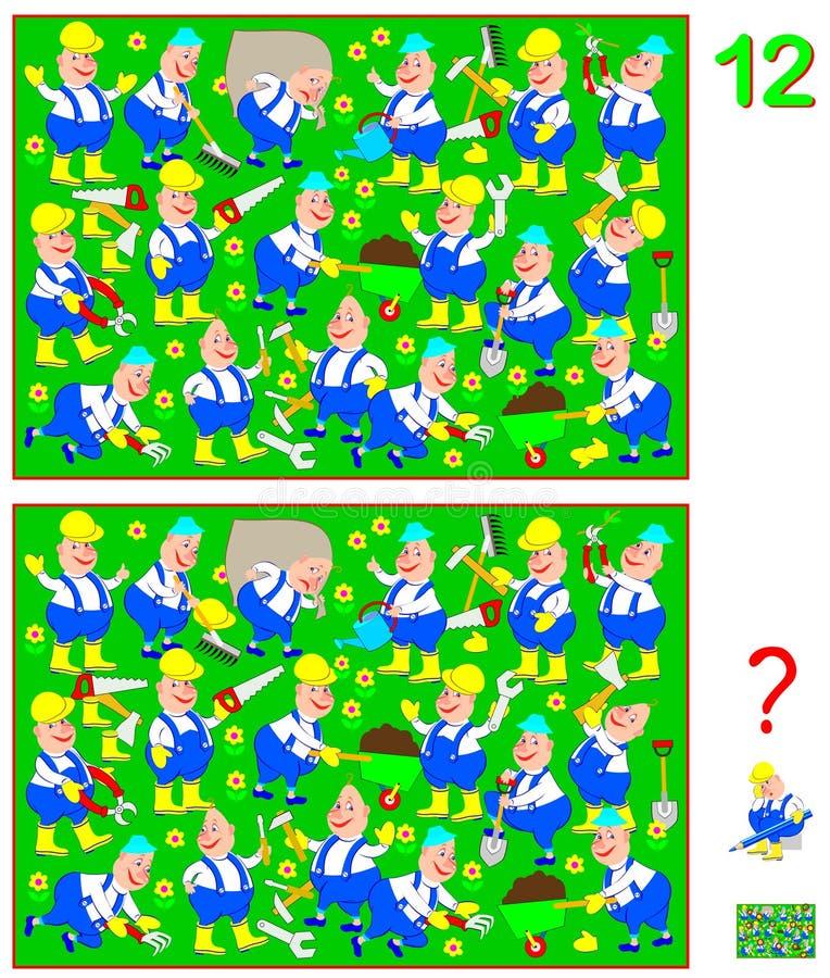 Juego del rompecabezas de la lógica para los niños y los adultos Necesidad de encontrar 12 diferencias Habilidades que se convier stock de ilustración