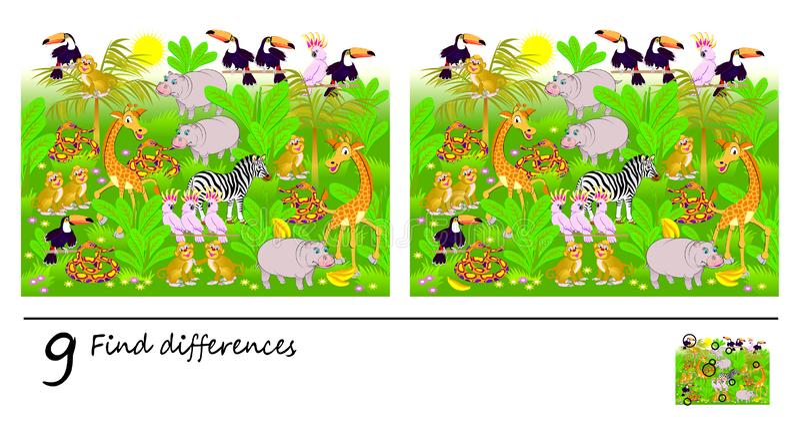 Juego del rompecabezas de la lógica para los niños y los adultos Necesidad de encontrar 9 diferencias Página para el libro del be libre illustration