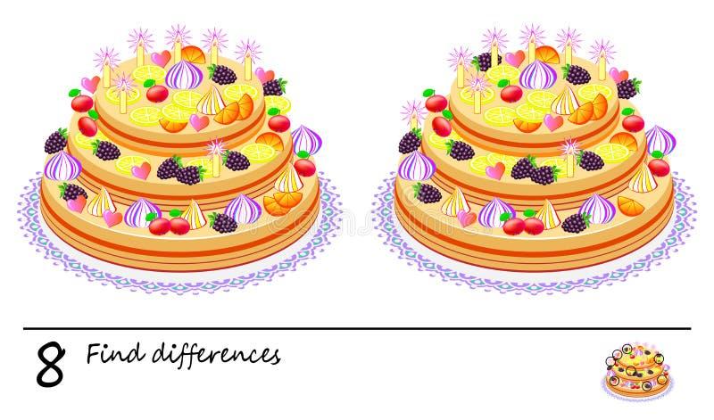 Juego del rompecabezas de la lógica para los niños y los adultos Necesidad de encontrar 8 diferencias Página para el libro del be libre illustration