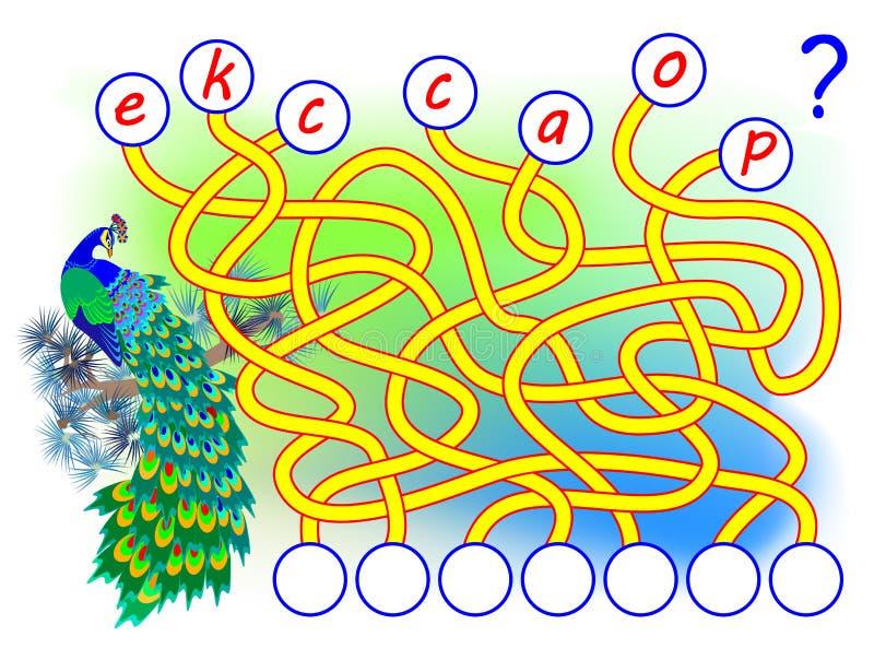 Juego del rompecabezas de la l?gica para el ingl?s del estudio con el laberinto Encuentre los lugares correctos para las letras,  ilustración del vector