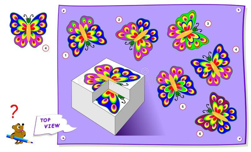 Juego del rompecabezas de la l?gica para los ni?os Necesite encontrar la opinión superior correcta la mariposa Hoja de trabajo pa libre illustration