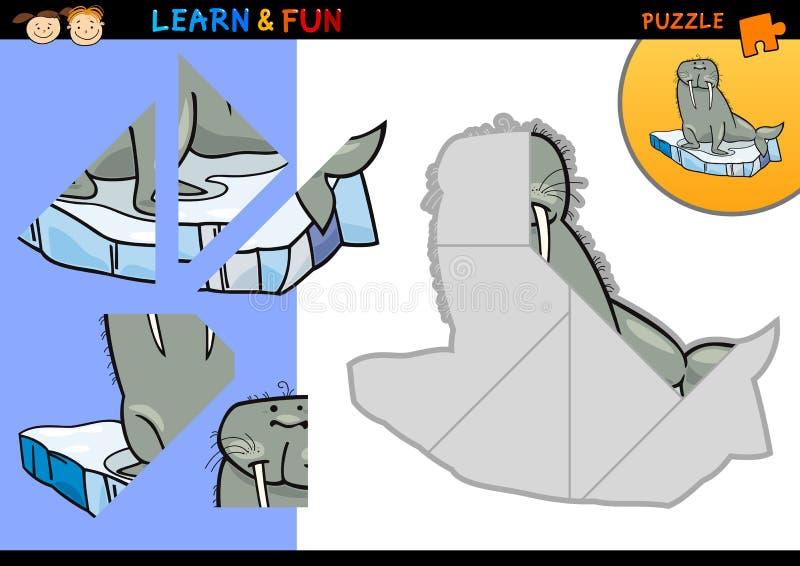 Juego del rompecabezas de la morsa de la historieta ilustración del vector