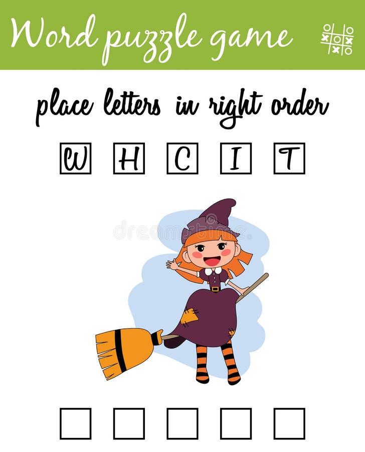 Juego del rompecabezas de las palabras con la bruja Ponga las letras en orden correcta Aprendizaje de vocabulario Juego educativo libre illustration