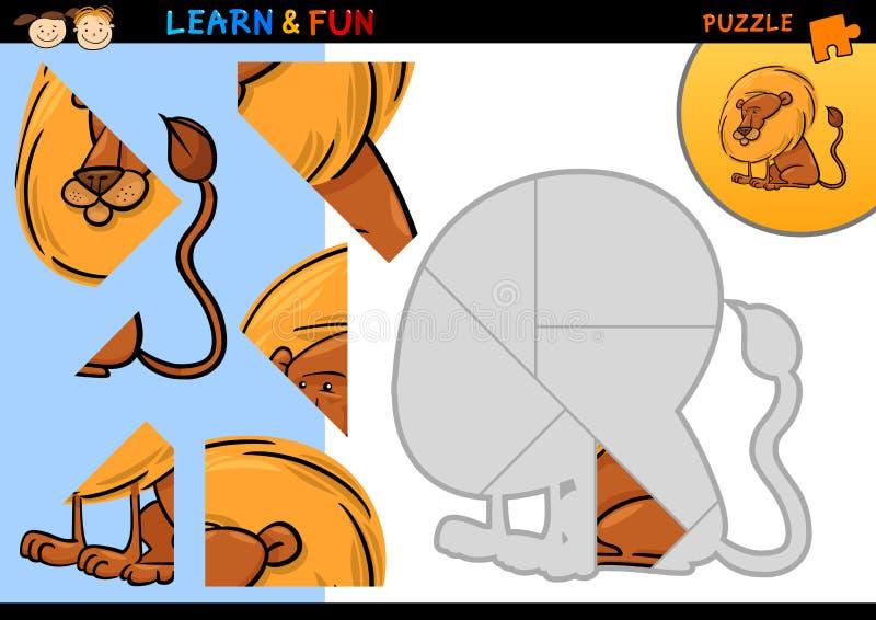 Juego del rompecabezas del león de la historieta stock de ilustración