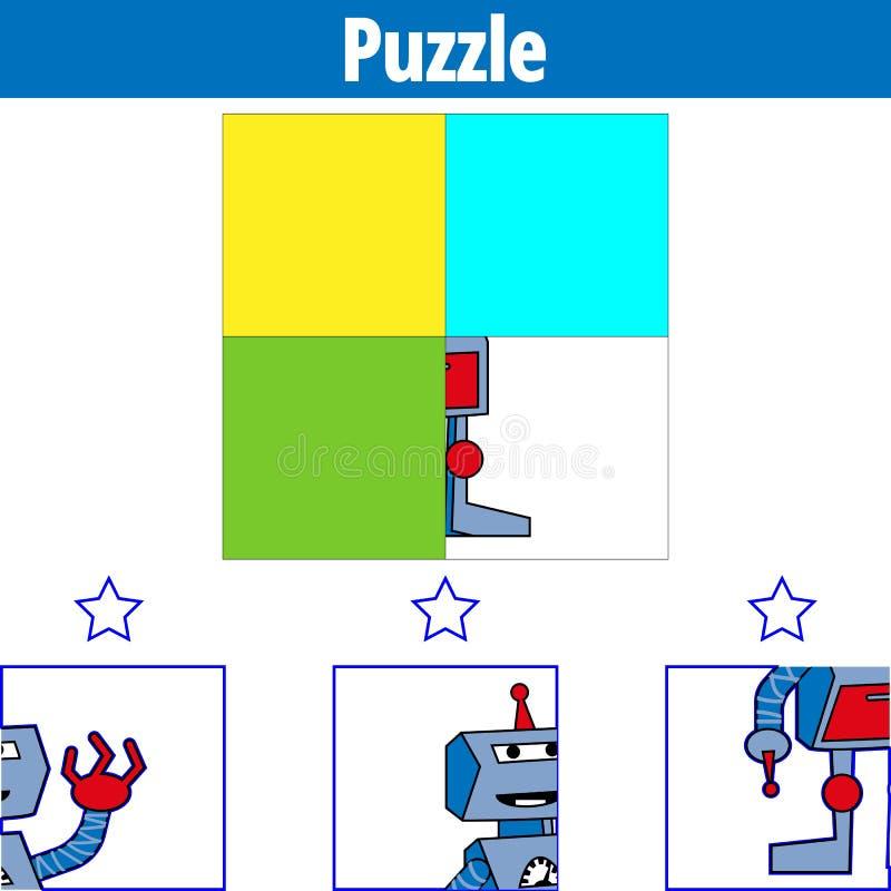 Juego del rompecabezas Juego educativo visual para los niños Hoja de trabajo para los niños preescolares Ilustración del vector R stock de ilustración