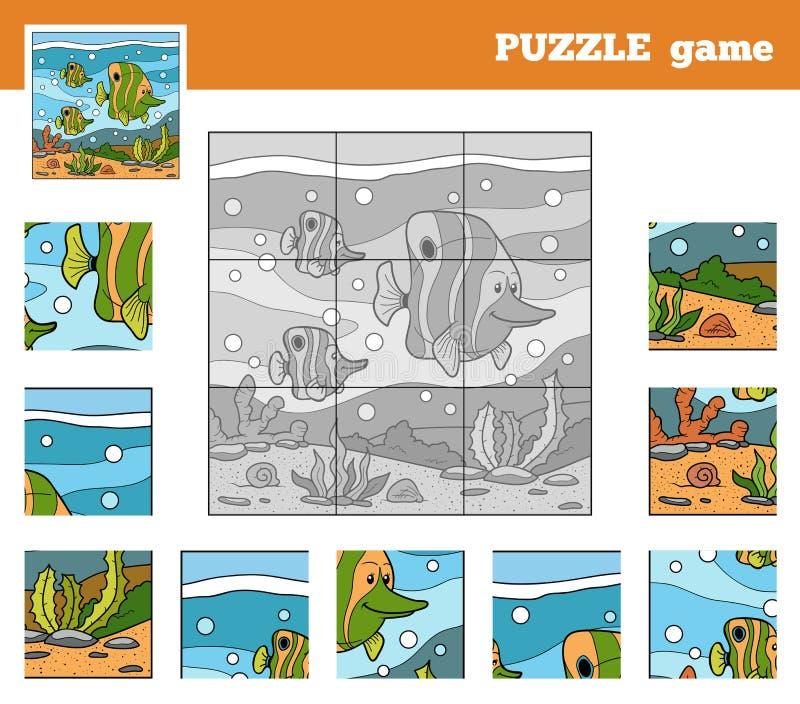 Juego del rompecabezas para los niños con los animales (familia de pescados) libre illustration