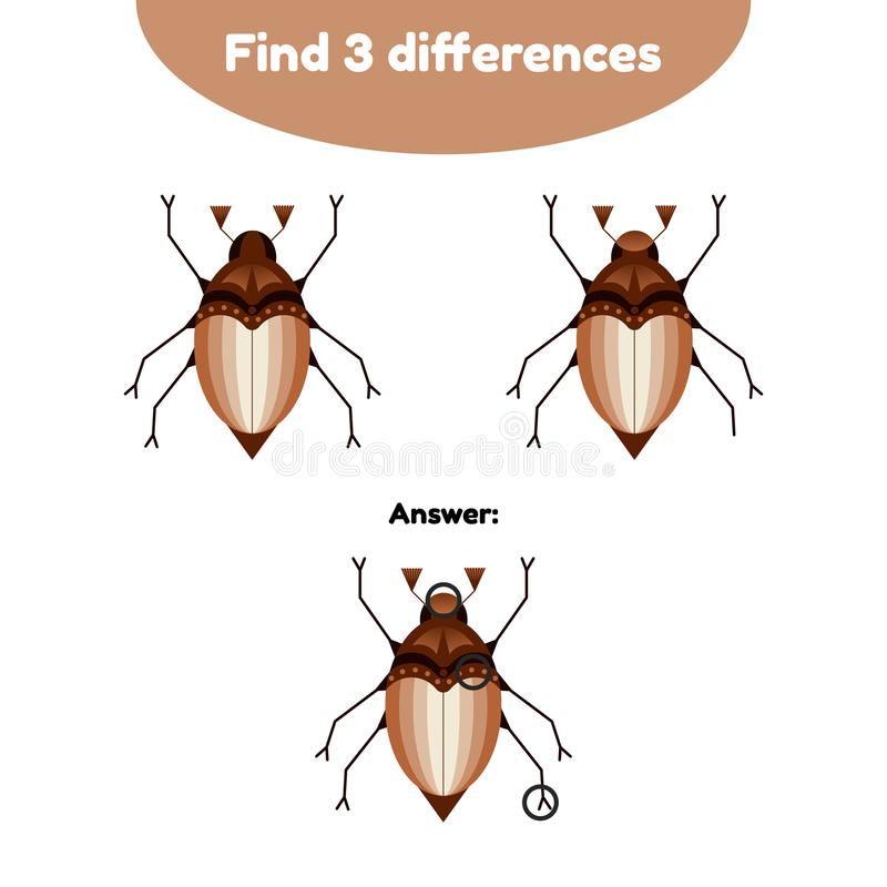 Juego del rompecabezas para los niños preescolares Diferencias del hallazgo 3 Con la respuesta puede el escarabajo, abejorro stock de ilustración