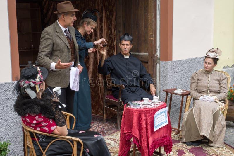 Juego del teatro en Exilles Italia fotografía de archivo libre de regalías