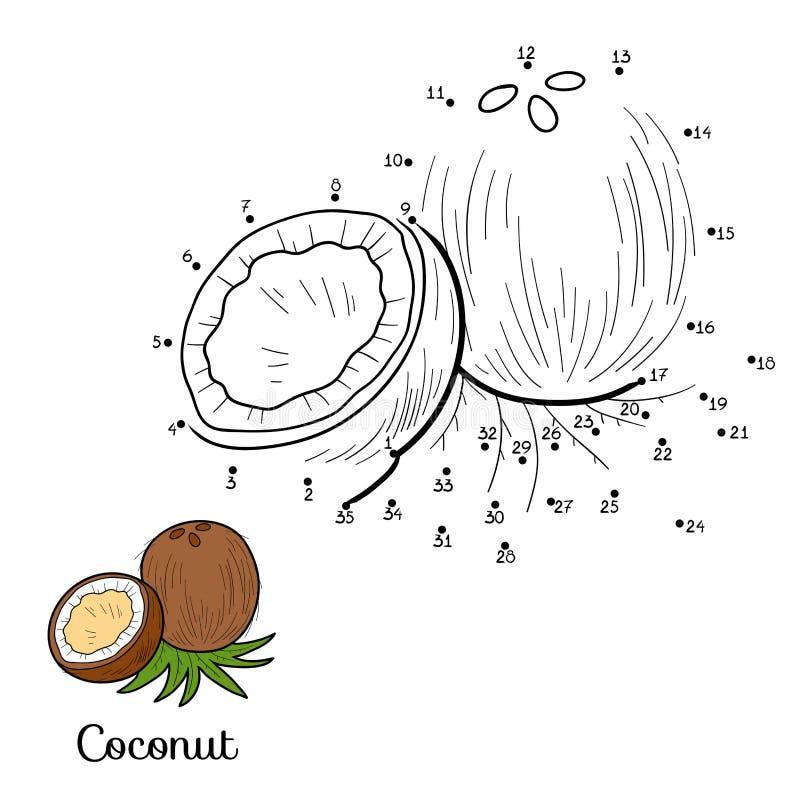 Juego del vector de los números: frutas y verduras (coco) stock de ilustración
