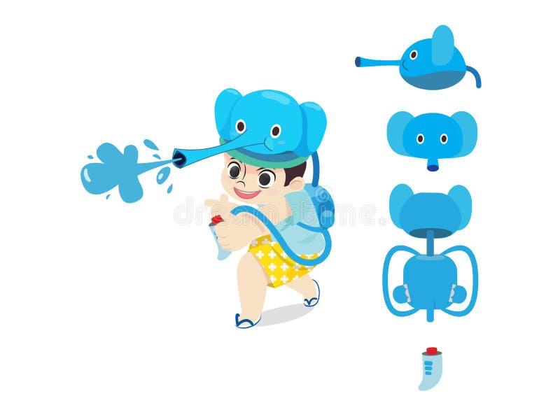 Juego divertido del ni?o con el arma de agua del elefante en el festival de Tailandia del d?a de Songkran Desgin del ni?o de Char libre illustration