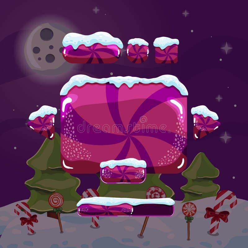 Juego dulce de la interfaz de usuario del invierno del vector stock de ilustración