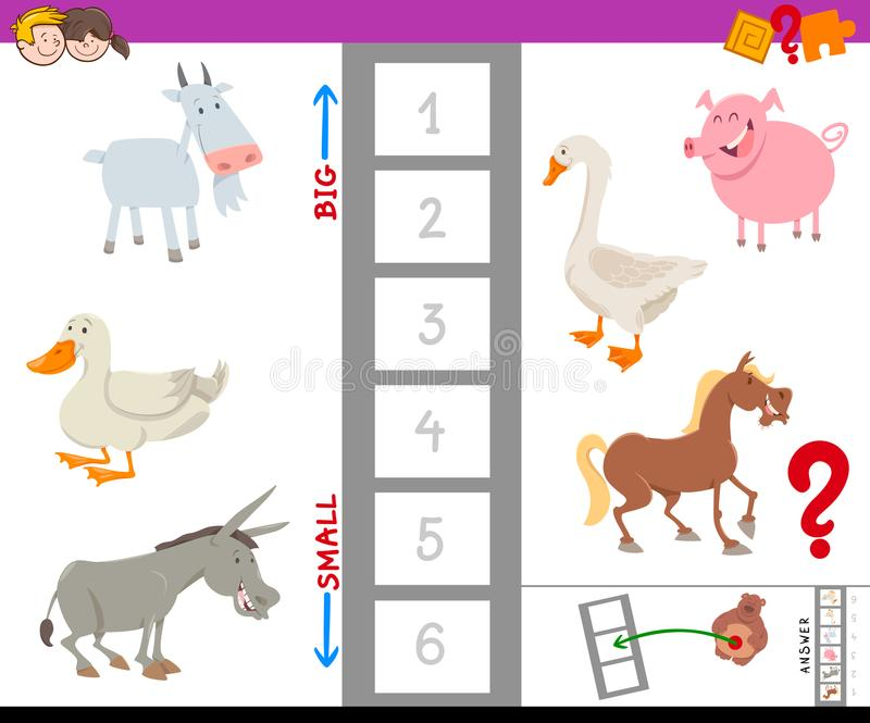 Juego educativo con los animales del campo grandes y pequeños libre illustration