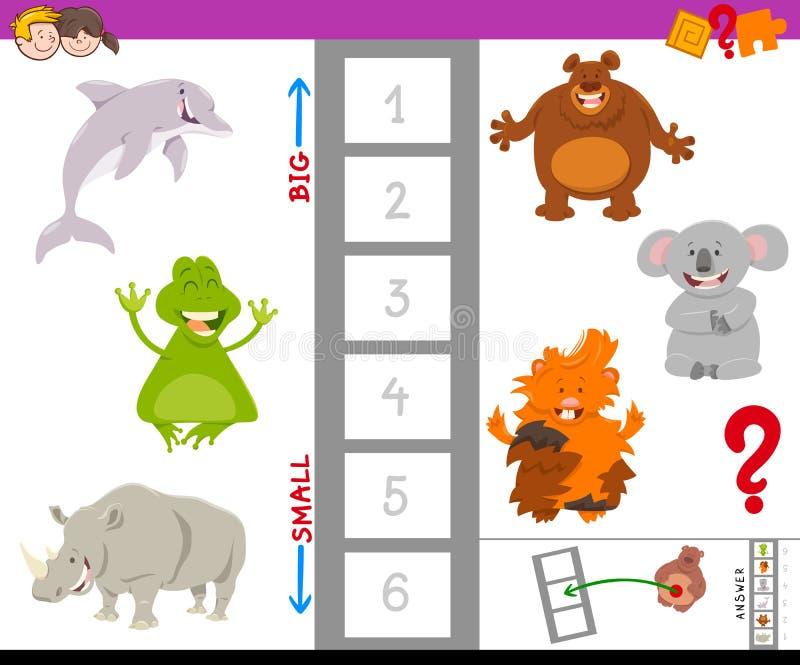 Juego educativo con los animales grandes y pequeños ilustración del vector