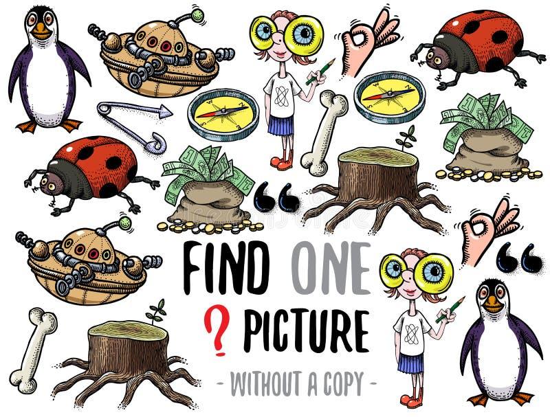 Juego educativo de la imagen del hallazgo uno stock de ilustración