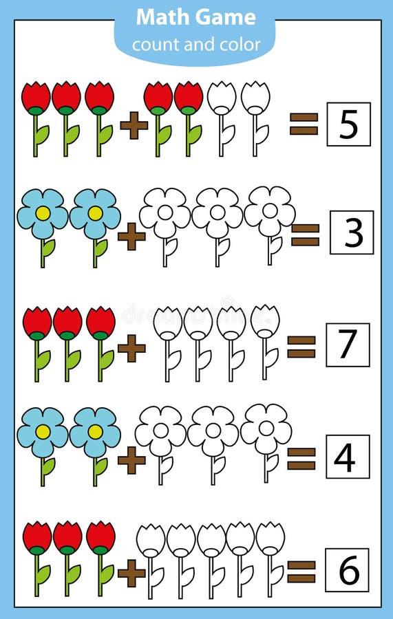 Juego educativo de la matemáticas para los niños Cuenta de ecuaciones Hoja de trabajo de la adición ilustración del vector