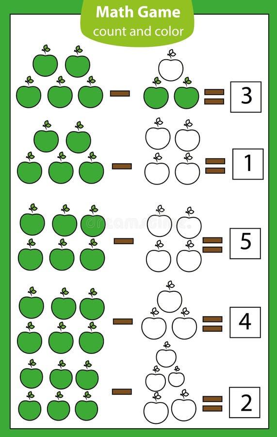 Juego educativo de la matemáticas para los niños Cuenta de ecuaciones Hoja de trabajo de la substracción libre illustration