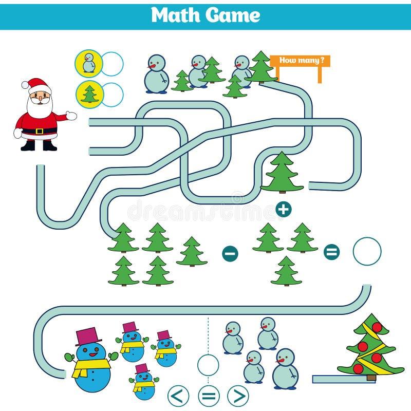 Juego educativo de las matemáticas para los niños Aprendiendo la hoja de trabajo de la substracción para los niños, contando acti ilustración del vector