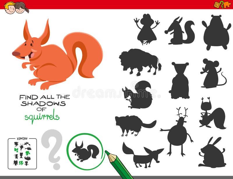 Juego educativo de las sombras con las ardillas ilustración del vector