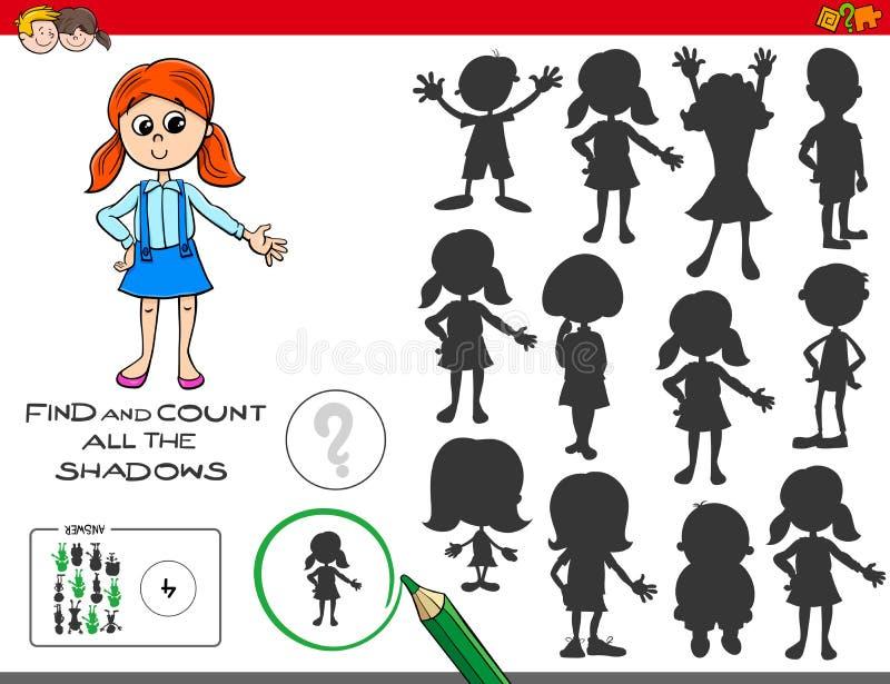 Juego educativo de las sombras con la muchacha linda libre illustration