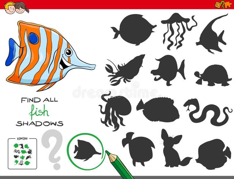 Juego educativo de las sombras con los caracteres de los pescados ilustración del vector
