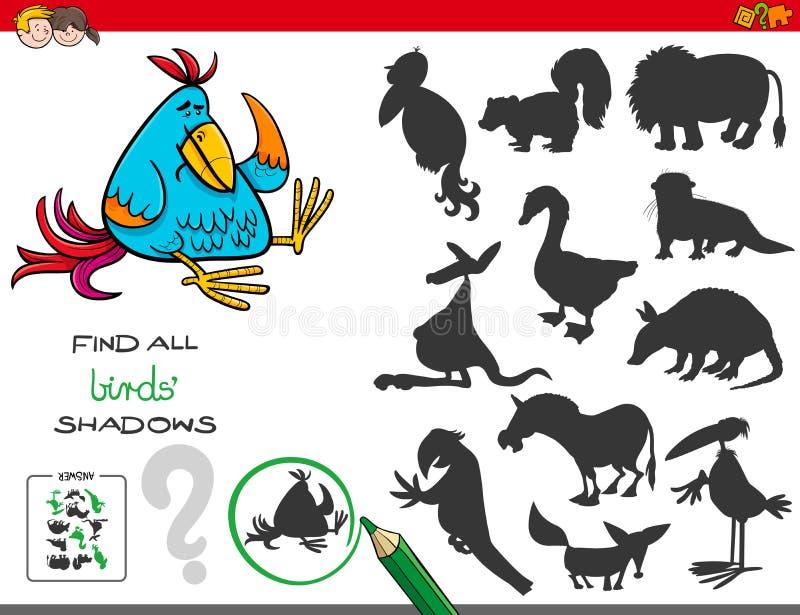 Juego educativo de las sombras con los pájaros stock de ilustración