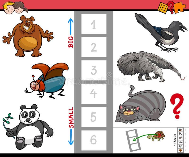 Juego educativo de los animales grandes y pequeños para los niños libre illustration
