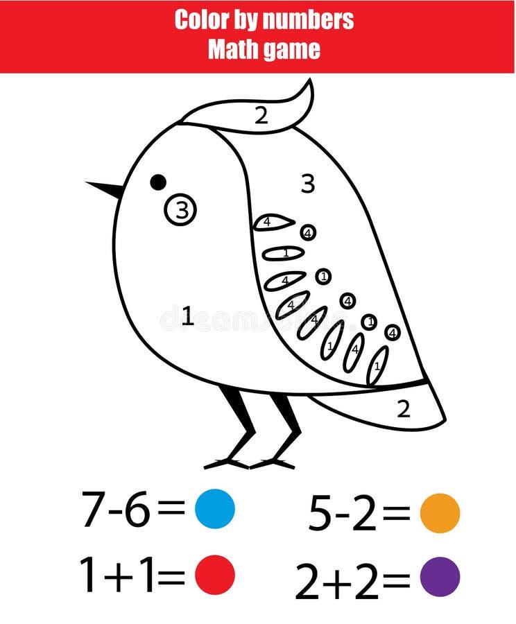 Juego Educativo De Los Niños Actvity De Las Matemáticas Color Por ...