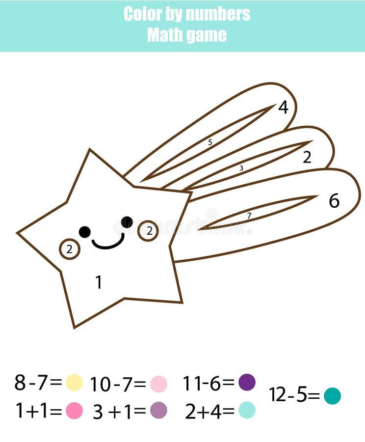 Juego educativo de los niños Actvity de las matemáticas Color por números, hoja de trabajo imprimible Página que colorea con la e libre illustration